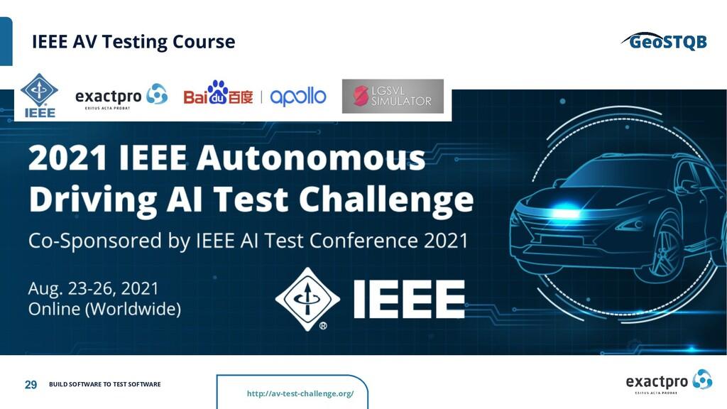 29 BUILD SOFTWARE TO TEST SOFTWARE IEEE AV Test...