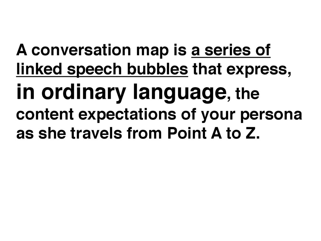 A conversation map is a series of linked speech...
