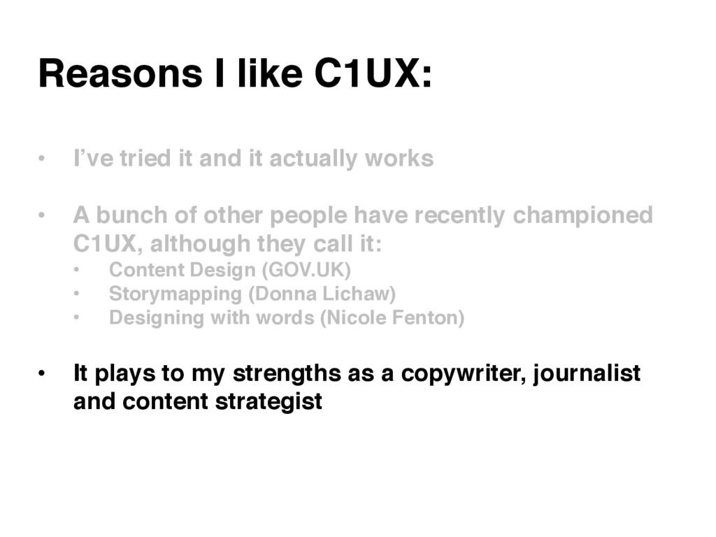 Reasons I like C1UX: • I've tried it and it ac...