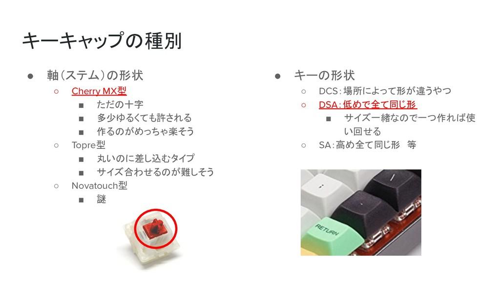 キーキャップの種別 ● 軸(ステム)の形状 ○ Cherry MX型 ■ ただの十字 ■ 多少...