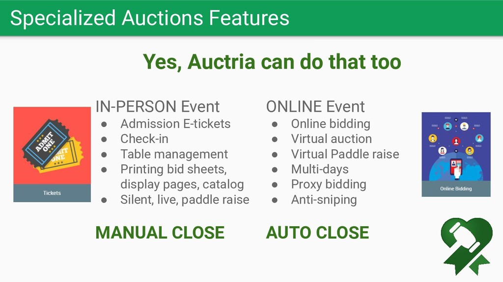 Specialized Auctions Features IN-PERSON Event ●...