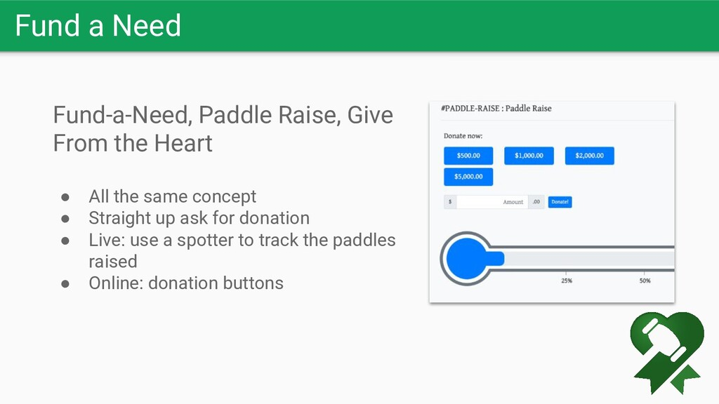 Fund a Need Fund-a-Need, Paddle Raise, Give Fro...