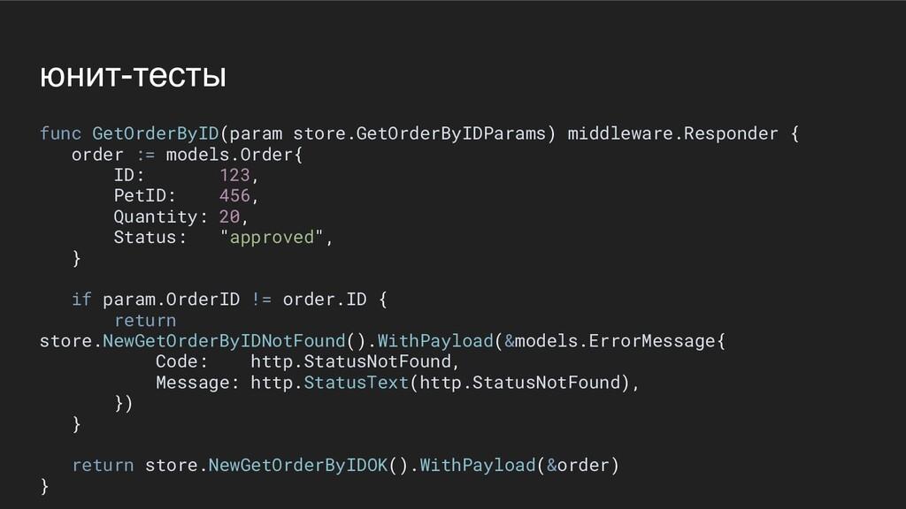 юнит-тесты func GetOrderByID(param store.GetOrd...
