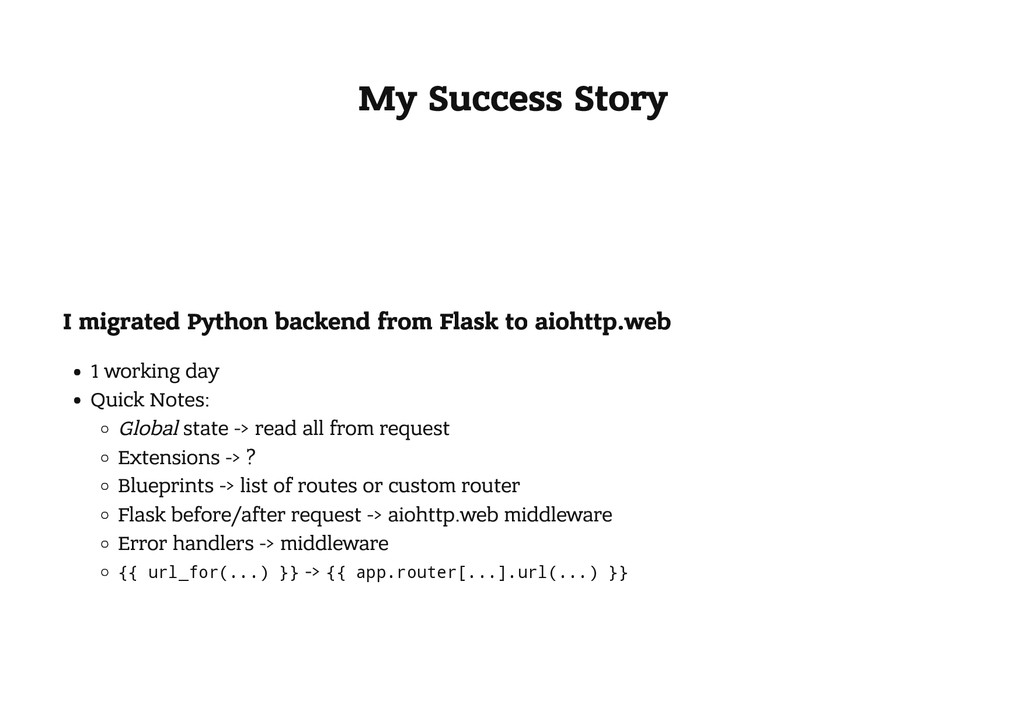 My Success Story I migrated Python backend from...
