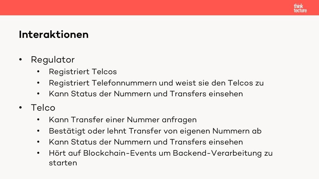 • Regulator • Registriert Telcos • Registriert ...