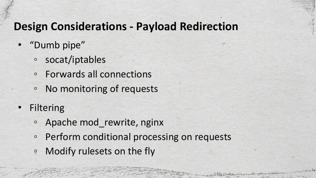 "Design Considerations - Payload Redirection • ""..."