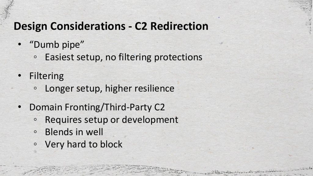 "Design Considerations - C2 Redirection • ""Dumb ..."