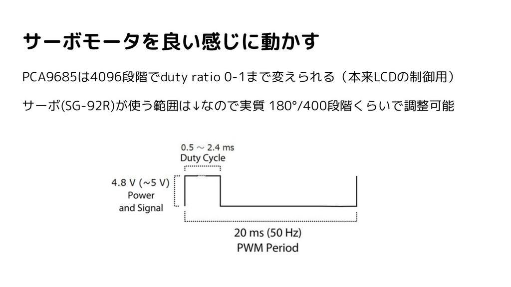 サーボモータを良い感じに動かす PCA9685は4096段階でduty ratio 0-1まで...