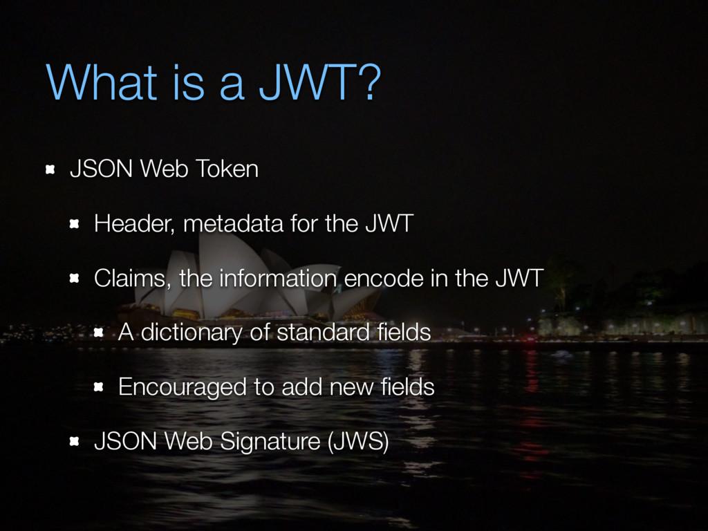 What is a JWT? JSON Web Token Header, metadata ...