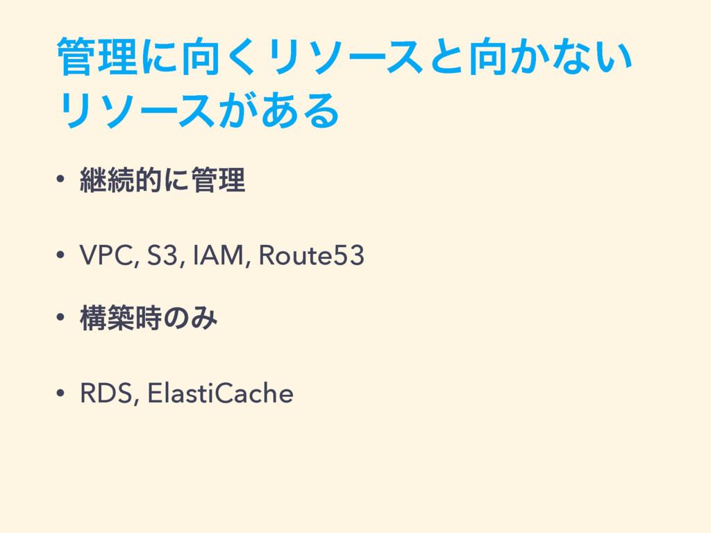 ཧʹ͘Ϧιʔεͱ͔ͳ͍ Ϧιʔε͕͋Δ • ܧଓతʹཧ • VPC, S3, IAM,...