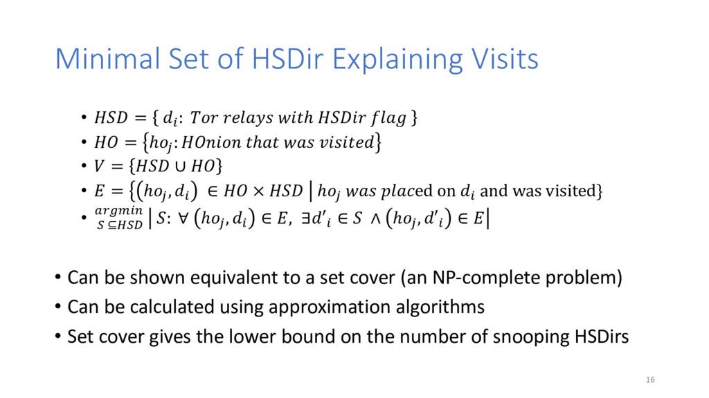 "Minimal Set of HSDir Explaining Visits • !""# = ..."