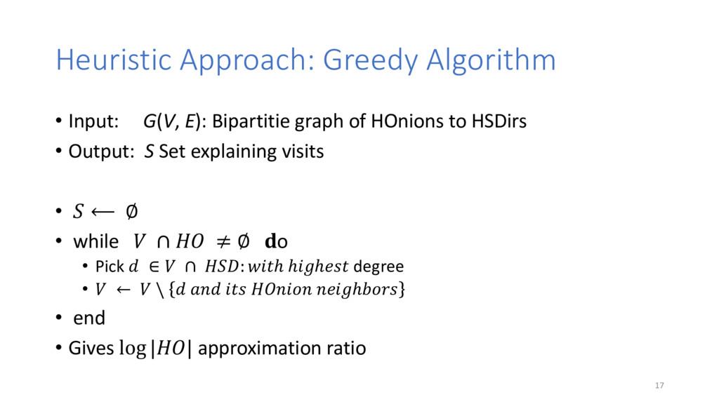 Heuristic Approach: Greedy Algorithm • Input: G...