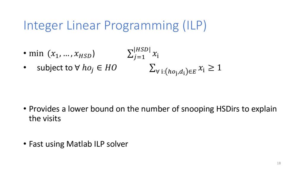 Integer Linear Programming (ILP) • min (%& , … ...