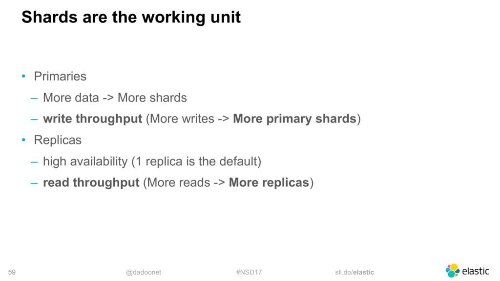 @dadoonet #NSD17 sli.do/elastic 59 Shards are t...