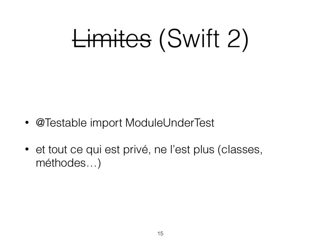 Limites (Swift 2) • @Testable import ModuleUnde...