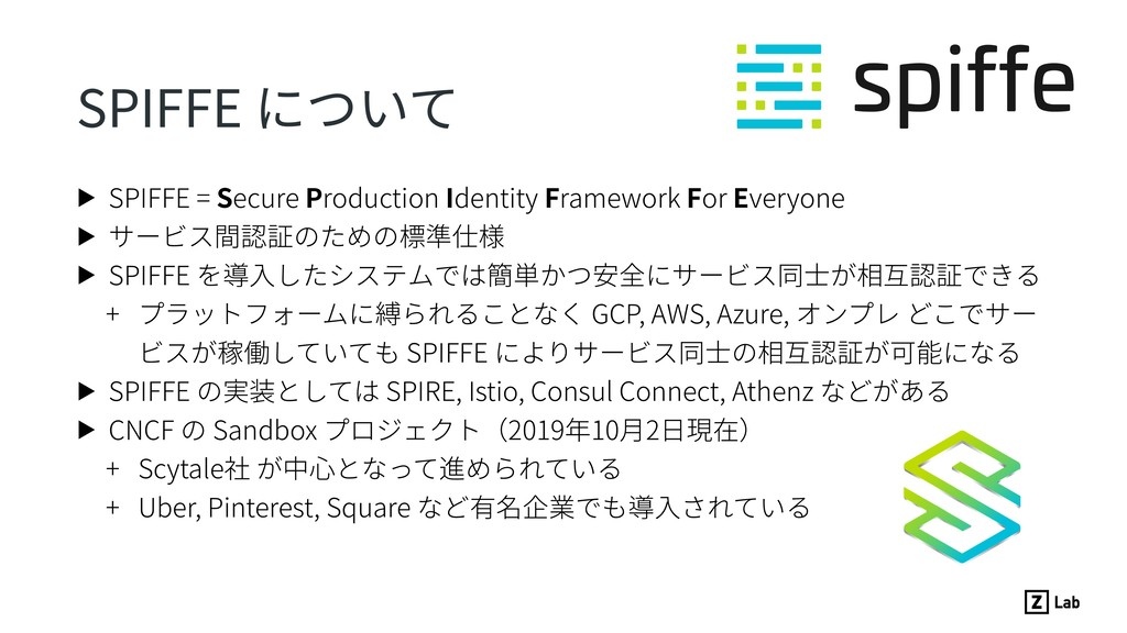 SPIFFE について ▶ SPIFFE = Secure Production Identi...