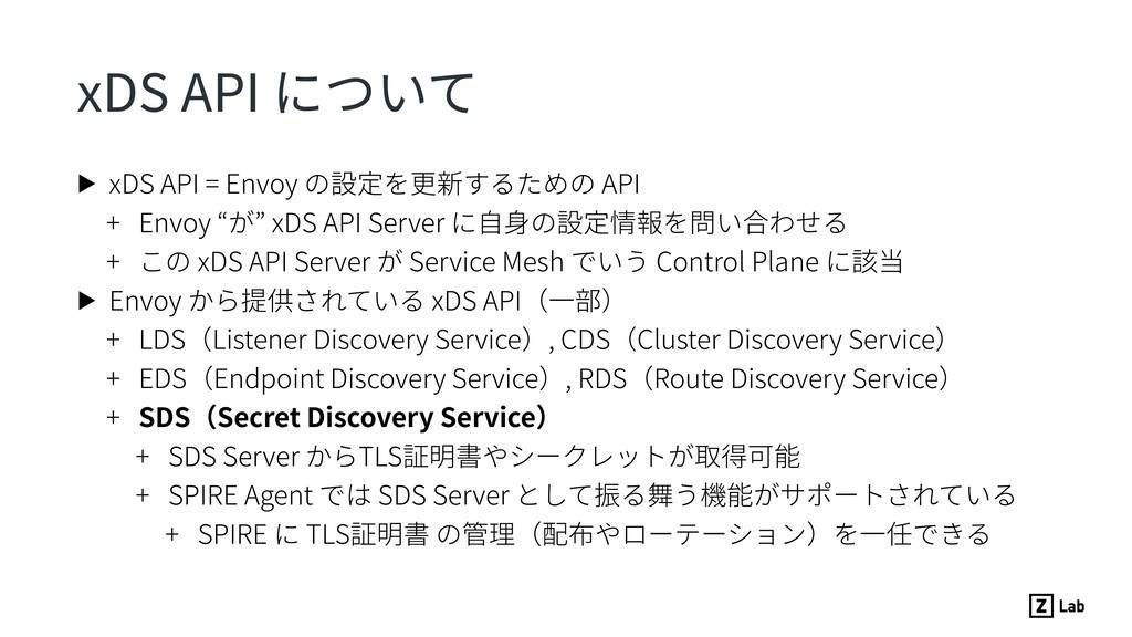 xDS API について ▶ xDS API = Envoy の設定を更新するための API ...