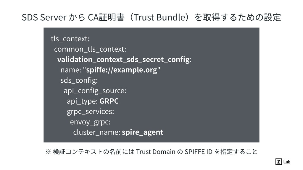 SDS Server から CA証明書(Trust Bundle)を取得するための設定 tls...