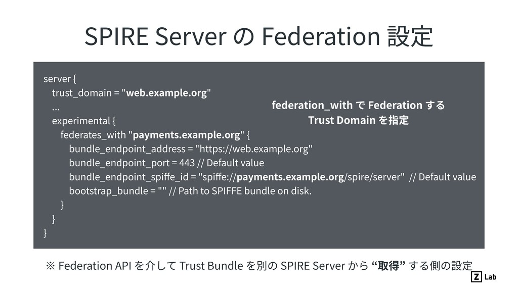 SPIRE Server の Federation 設定 server { trust_dom...