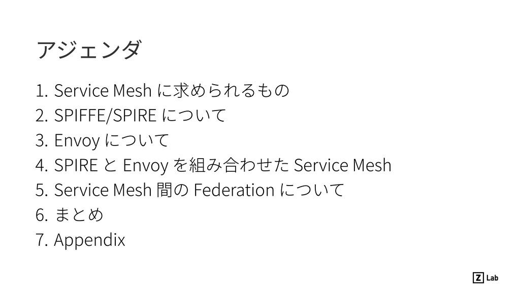 アジェンダ 1. Service Mesh に求められるもの 2. SPIFFE/SPIRE ...