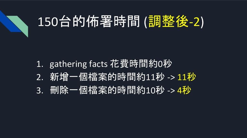 150台的佈署時間 (調整後-2) 1. gathering facts 花費時間約0秒 2....