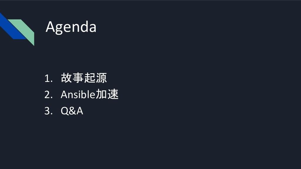 Agenda 1. 故事起源 2. Ansible加速 3. Q&A