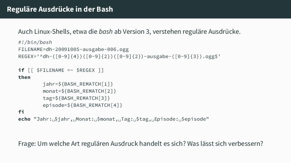 Reguläre Ausdrücke in der Bash Auch Linux-Shell...
