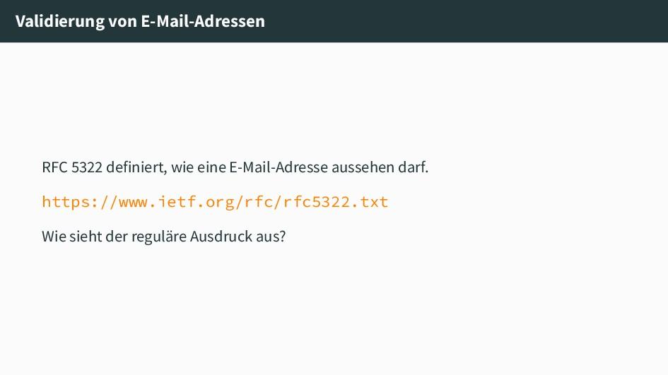 Validierung von E-Mail-Adressen RFC 5322 defini...