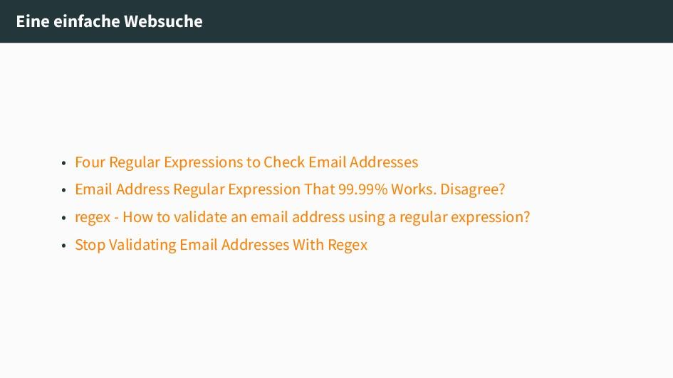 Eine einfache Websuche • Four Regular Expressio...