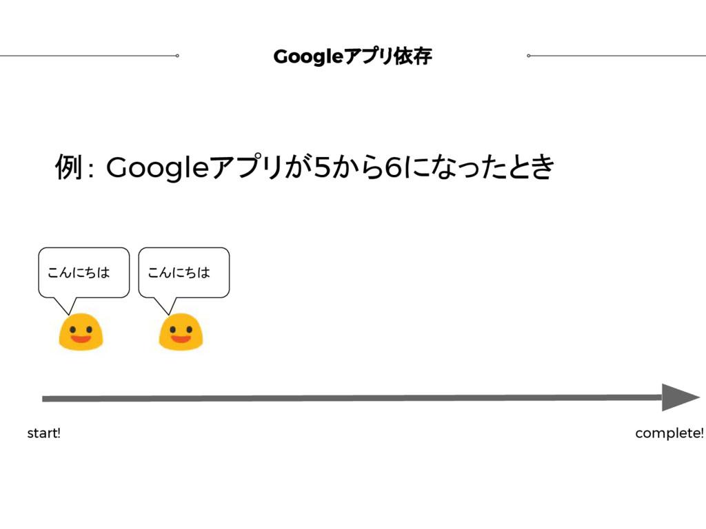 Googleアプリ依存 例: Googleアプリが5から6になったとき start! comp...