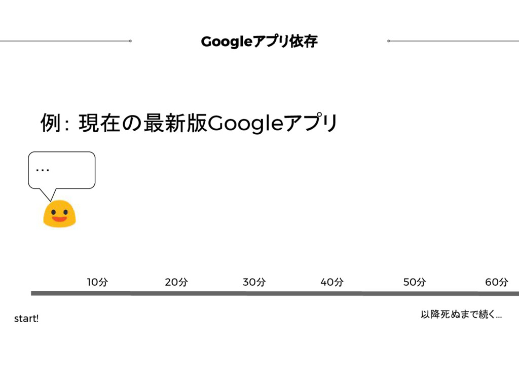 Googleアプリ依存 例: 現在の最新版Googleアプリ start! 以降死ぬまで続く....