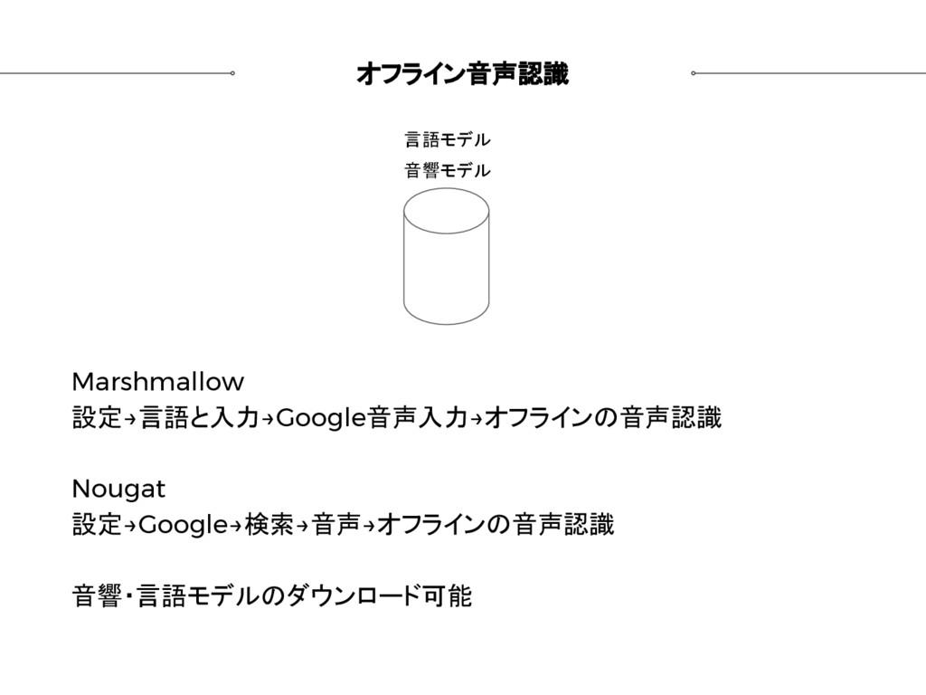 オフライン音声認識 Marshmallow 設定→言語と入力→Google音声入力→オフライン...