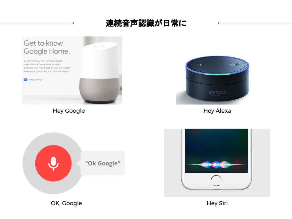連続音声認識が日常に OK, Google Hey Siri Hey Alexa Hey Go...