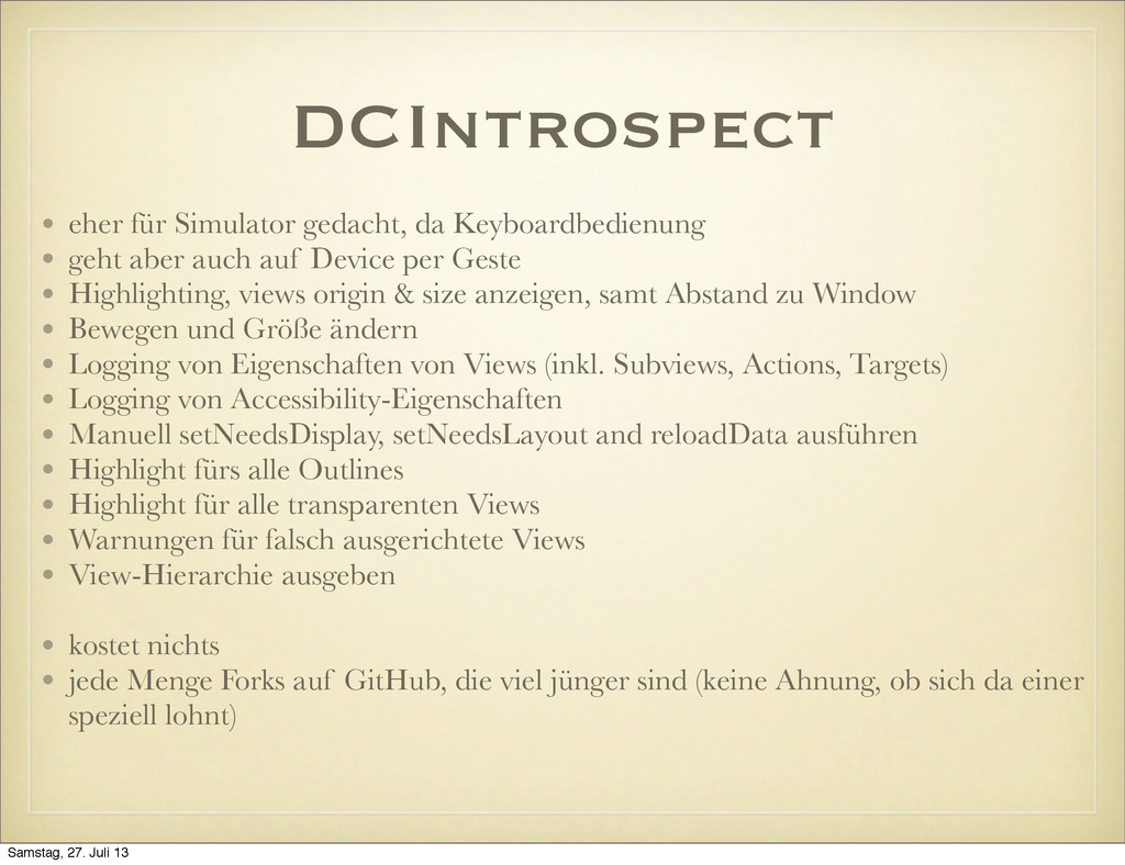 DCIntrospect • eher für Simulator gedacht, da K...