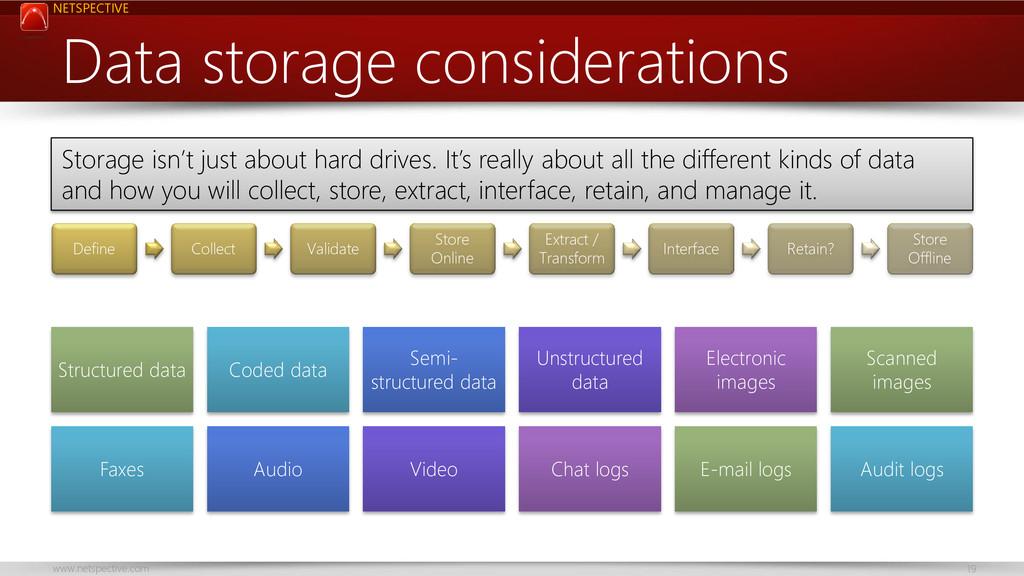 NETSPECTIVE www.netspective.com 19 Data storage...