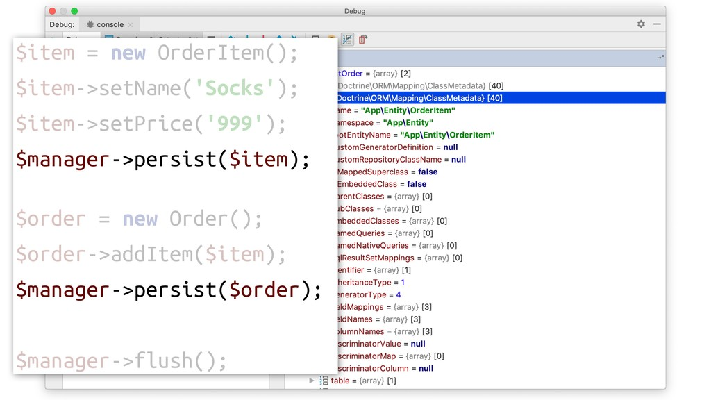 $item = new OrderItem(); $item->setName('Socks'...
