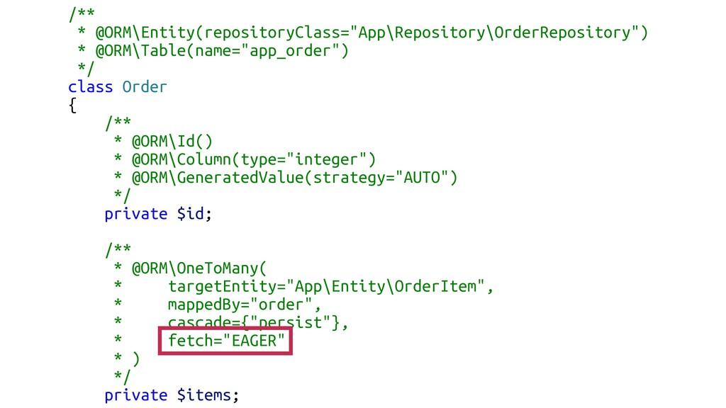 """/** * @ORM\Entity(repositoryClass=""""App\Reposito..."""