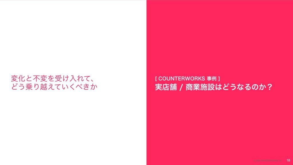 18 © 2020 COUNTERWORKS Inc. มԽͱෆมΛड͚ೖΕͯɺ Ͳ͏Γӽ͑...