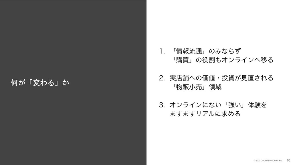 10 © 2020 COUNTERWORKS Inc. 何が「変わる」か 10  ʮใྲྀ...