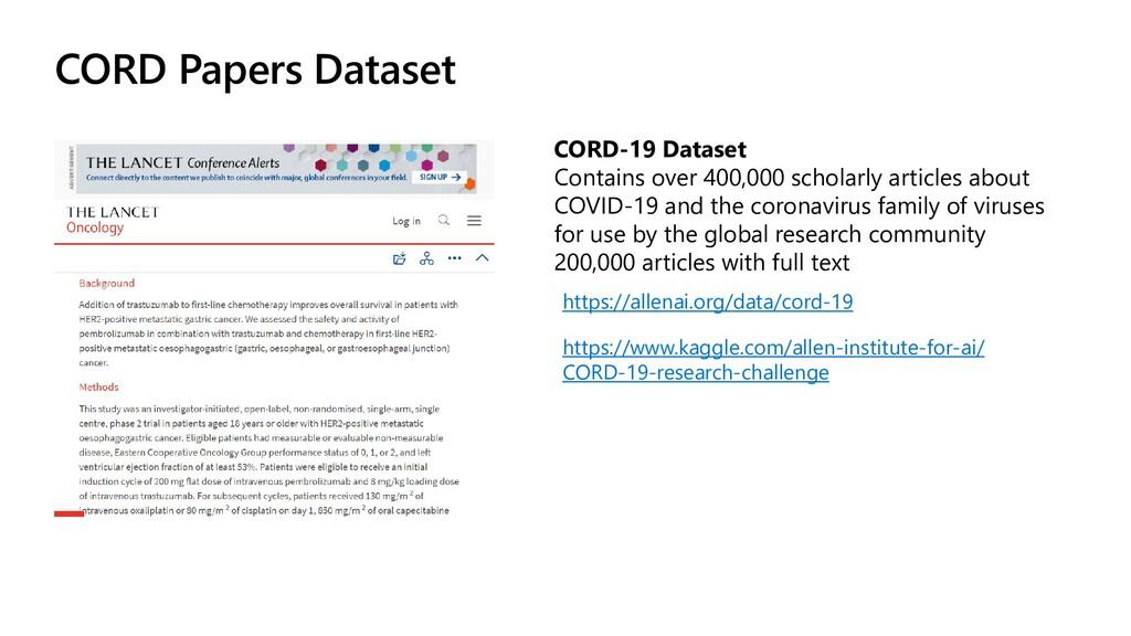 CORD Papers Dataset https://allenai.org/data/co...