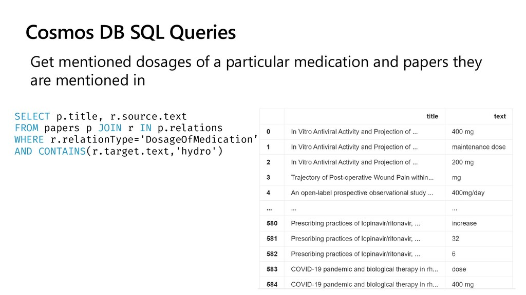 Cosmos DB SQL Queries Get mentioned dosages of ...