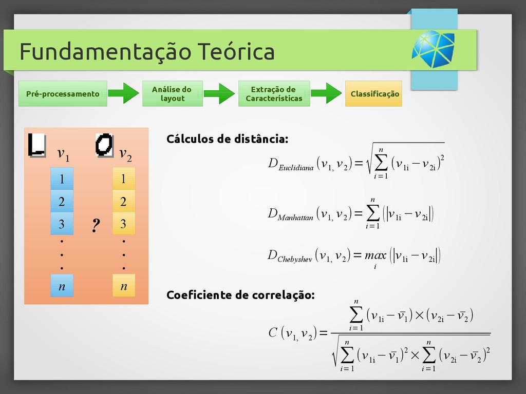 Fundamentação Teórica Cálculos de distância: D ...