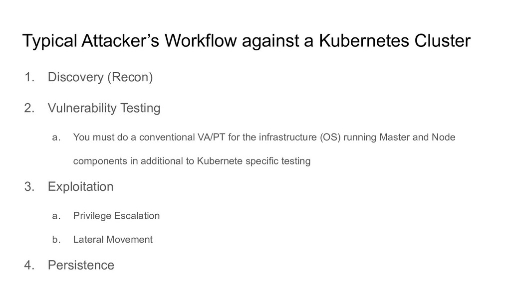 Typical Attacker's Workflow against a Kubernete...