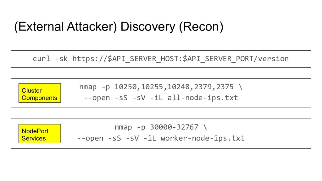 (External Attacker) Discovery (Recon) curl -sk ...