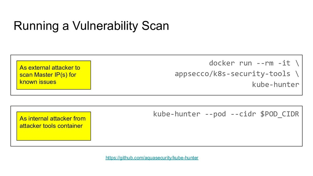 Running a Vulnerability Scan docker run --rm -i...