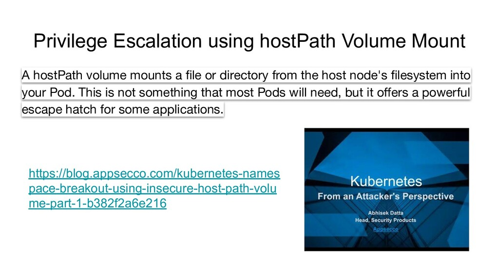 Privilege Escalation using hostPath Volume Moun...
