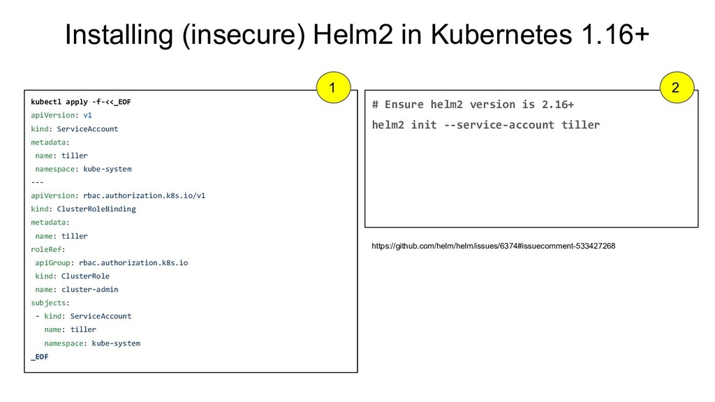 Installing (insecure) Helm2 in Kubernetes 1.16+...