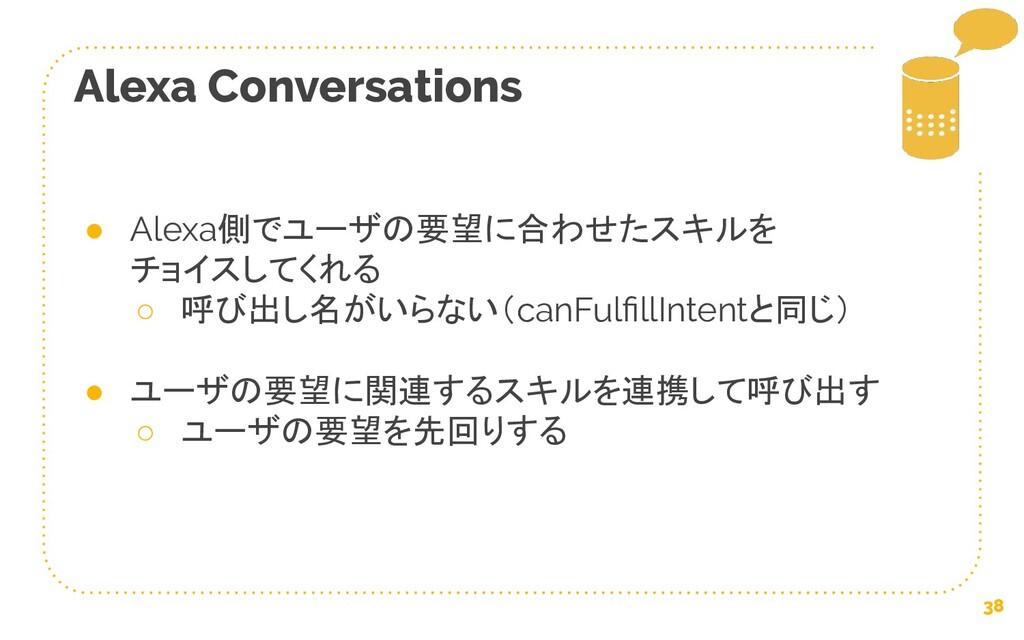 38 Alexa Conversations ● Alexa側でユーザの要望に合わせたスキルを...