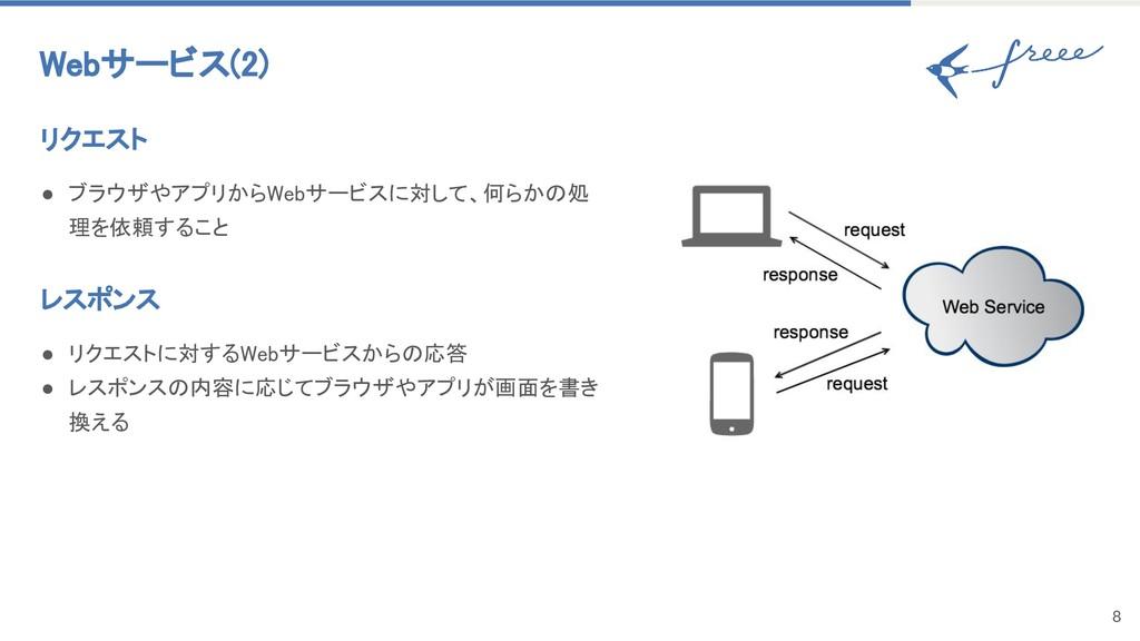 8 Webサービス(2) リクエスト ● ブラウザやアプリからWebサービスに対して、何らかの...