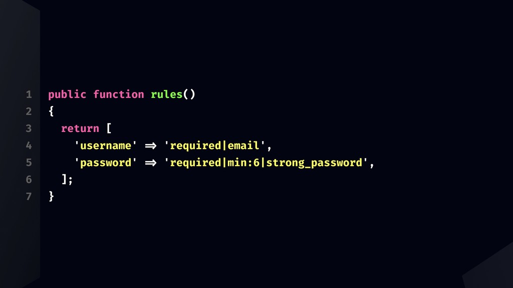 1 2 3 4 5 6 7 public function rules() { return ...